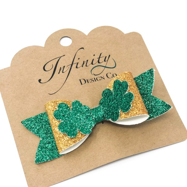 St. Patty's Day Four Leaf Clover Hair Bow Clip