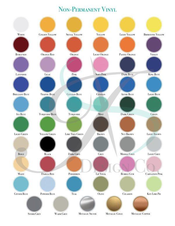 Non- Permanent Vinyl Color Swatch