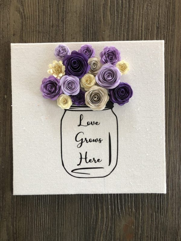 Paper Flower Mason Jar Shadow Box