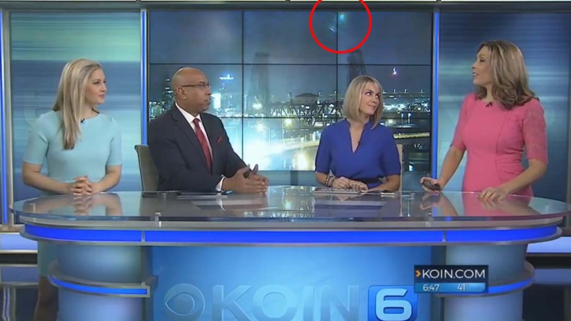 Two UFOs appear during a live broadcast on TV