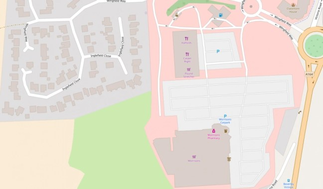 screenshot showing local shops and residential estate on open street map