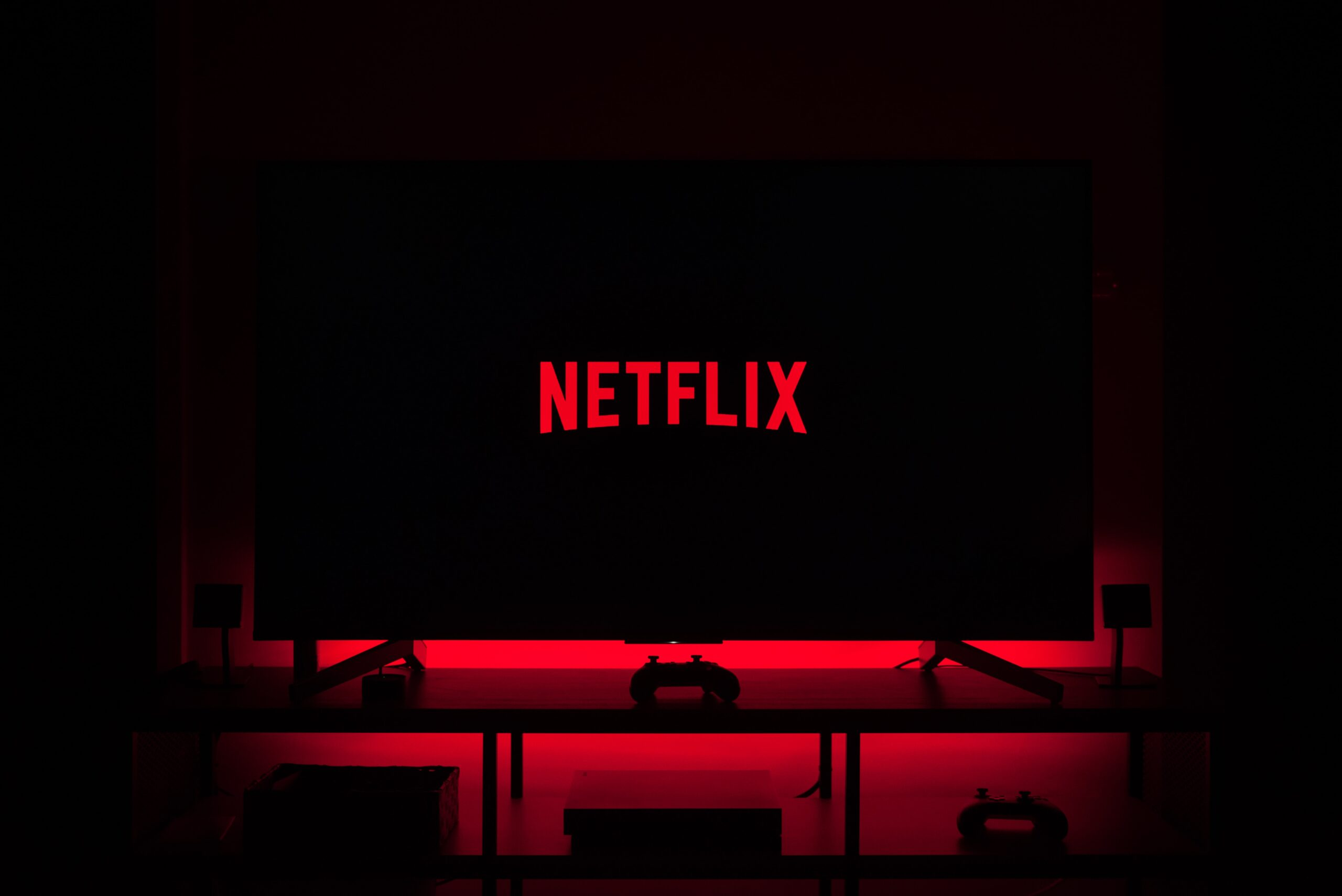 screen with netflix logo on