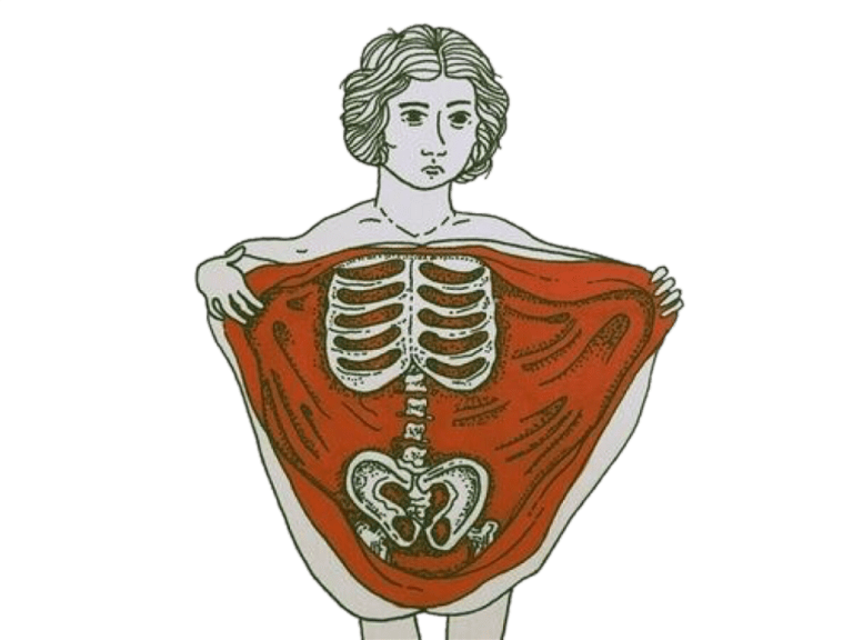 Illustration of a person opening up their body cavity like it's curtains to expose bones
