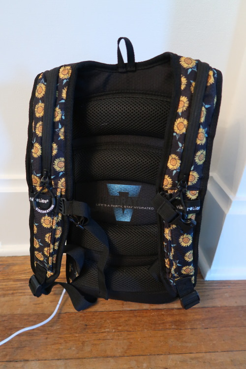 The back of the backpack. Nicely padded on the straps and back.