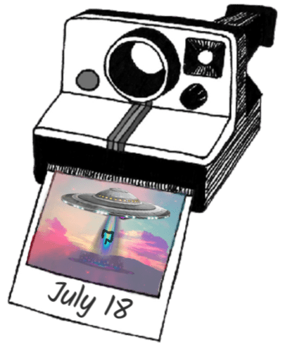 A poloroid camera spitting out a picture of a street at dusk with a space ship hovering in the sky and sucking a colon into it.