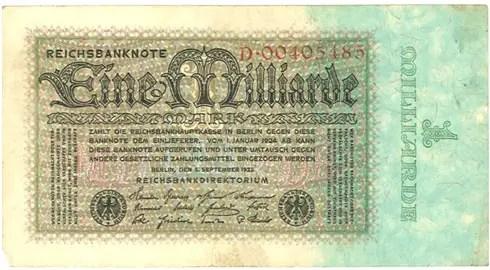 Germany – 1 billion mark, 1923