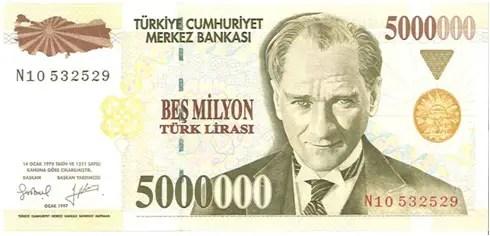 Turkey – 5 million lira, 1997
