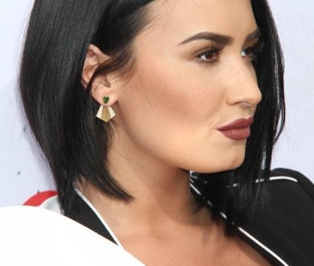 Demi Lovato Straight Black Angled Bob Bob Hairstyle Steal Her Style With Regard To