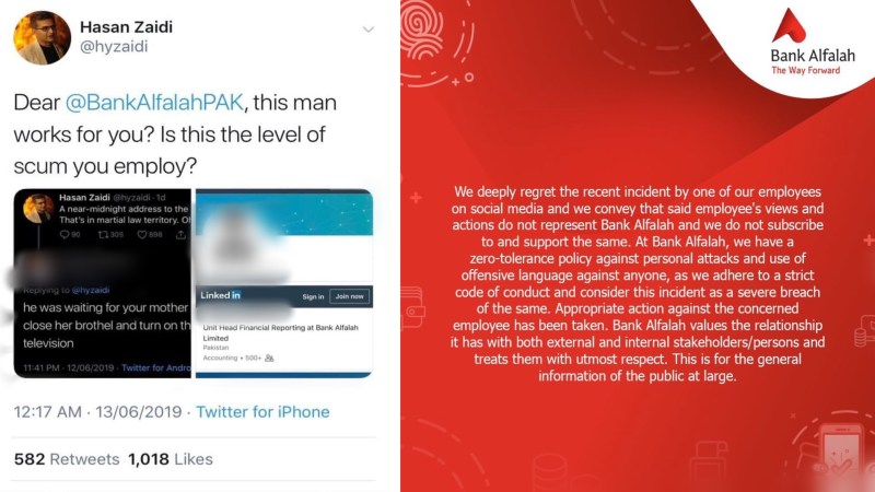 Bank Alfalah criticised for firing employee over abusive Tweets