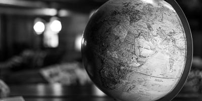 A globe on a desk
