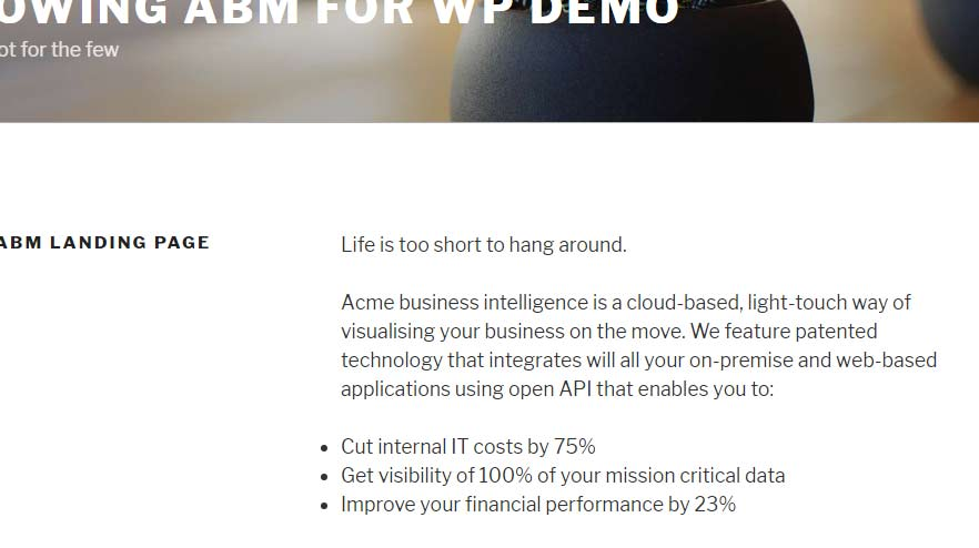 ABM for WP industry personalisation in preview model