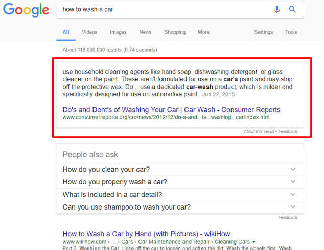 Voice Search Optimisation Featured Snippet