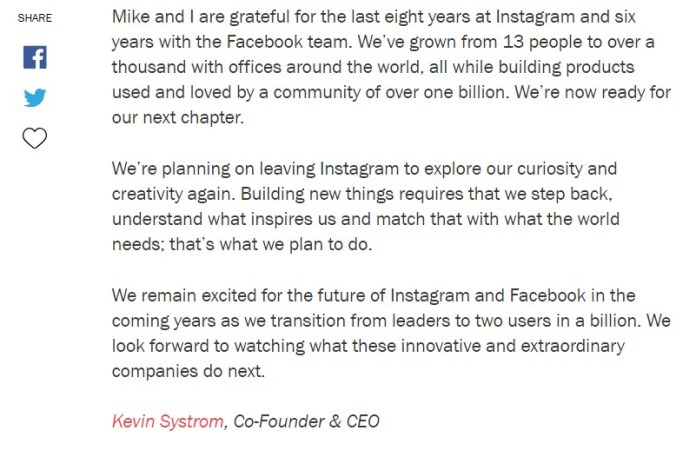 Kevin Systrom Quits Instagram