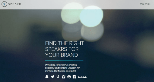 Page d'accueil de speakr, une plateforme de marketing d'influence