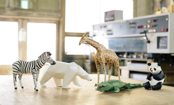 Small paper animal Panda zebre ours polaire crocrodile giraffe