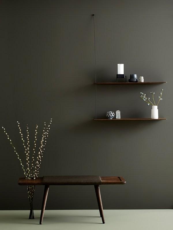 Étagère murale minimaliste et épurée, Stedge Woud design chêne fonce