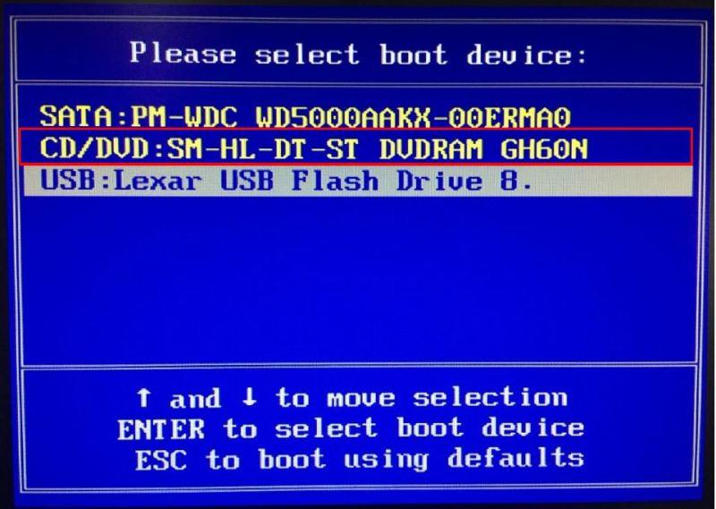 選擇用DVD或USB開機