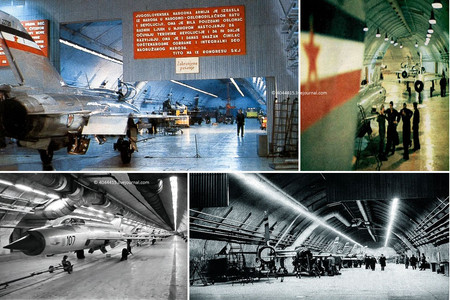Ремзона и галереи. Подземный ремонтно-технический комплекс для высококачественного обслуживания самолётов, их двигателей и электронного оборудования был отдельной уникальной конструкцией, которая располагалась в самой широкой и высокой части объекта