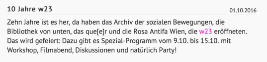 Screenshot: Homepage von Rosa Antifa Wien, www.raw.at