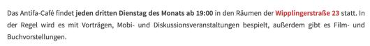 Screenshot der Homepage von Autonome Antifa Wien