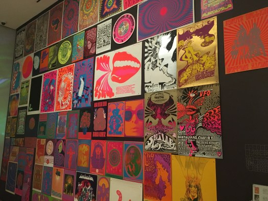 Wall of band posters from 1960-1969