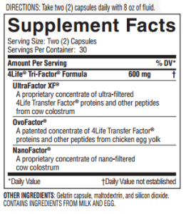 Transfer Factor® Tri Factor® Supplement Facts