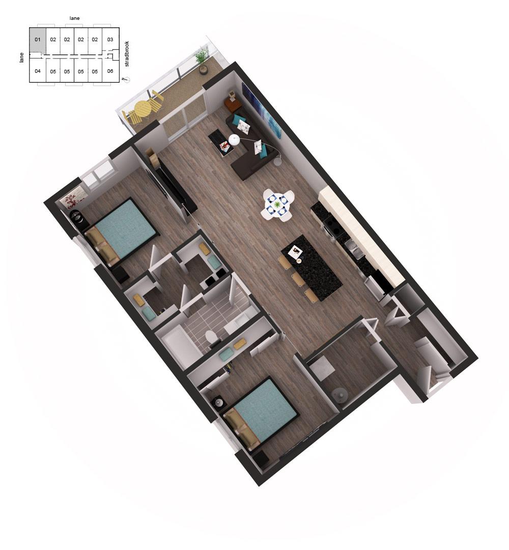 3D Floor Plans Unit 11