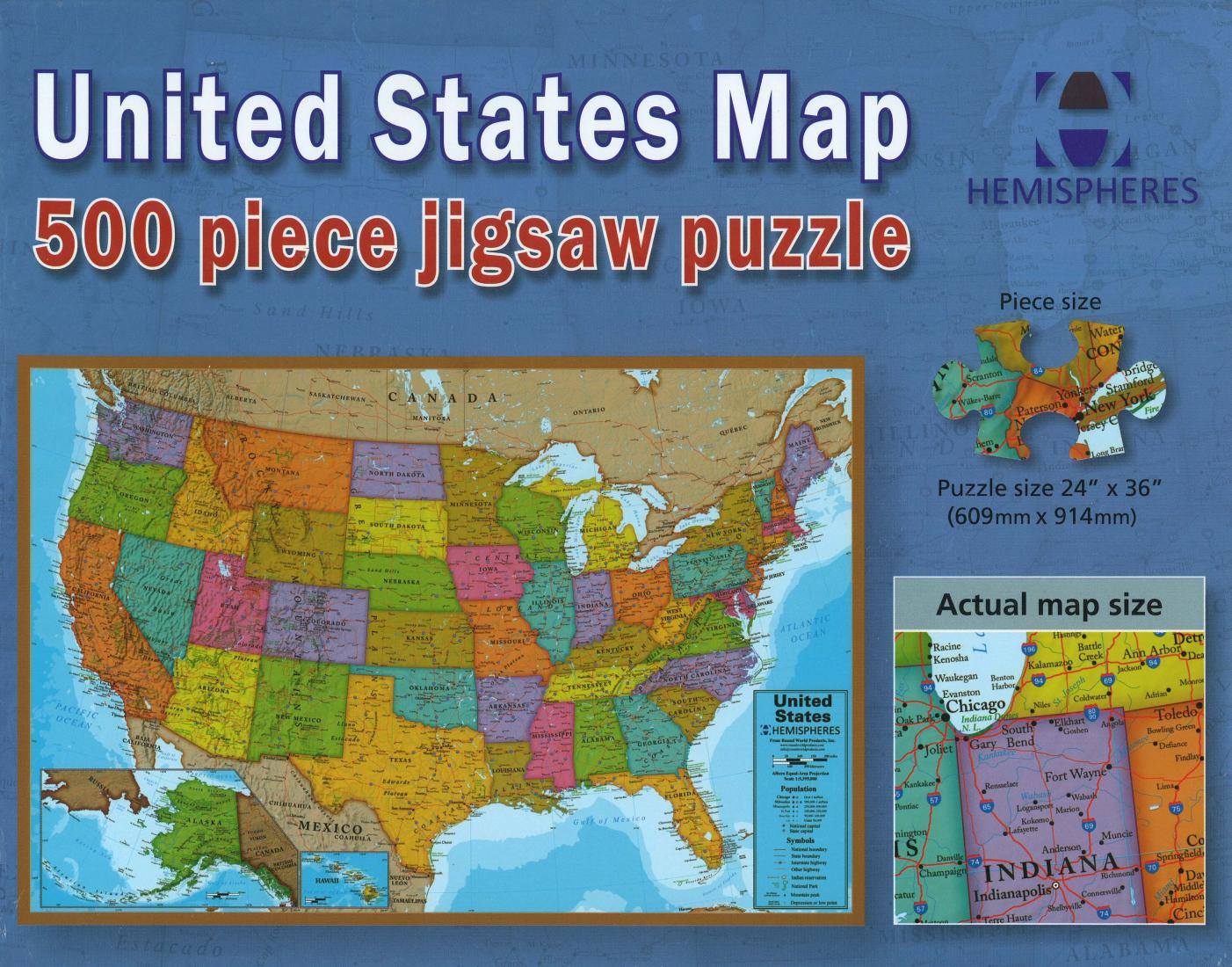 United States Map 500 Piece Puzzle By Maps International Ltd