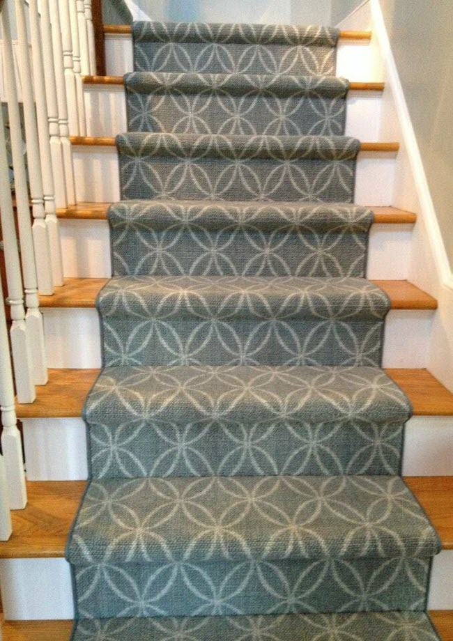 A Stair Runner Pricing Guide | Printed Carpet For Stairs | High Traffic | Gray | Karastan Patterned | Georgian | Middle Open Concept
