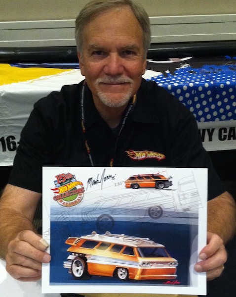 Several Hot Wheels designers were on hand to sign cars and posters and talk about their creations. Here Mark Jones shows off an upcoming creation… a wild custom Corvair Greenbrier Van surf dragster. No word when this model comes out, but it will be a cool one!