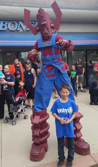 Kids and supervillains of all sizes came out for free comic books.