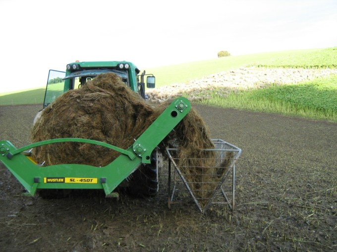 the sl450x trough feeder easily feeds into these hay baskets.jpg