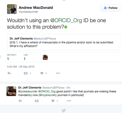 Tweet from Andrew MacDonald about using ORCID iDs to clarify affilliations