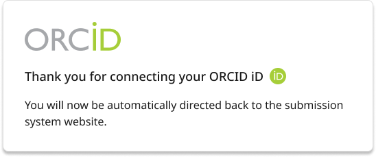An example Orcid redirect page