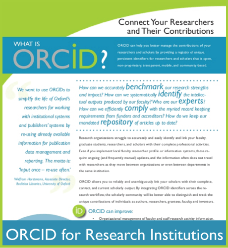ORCID flier for Research Institutions