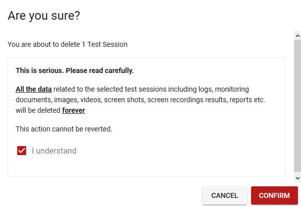 Result deletion confirmation screen