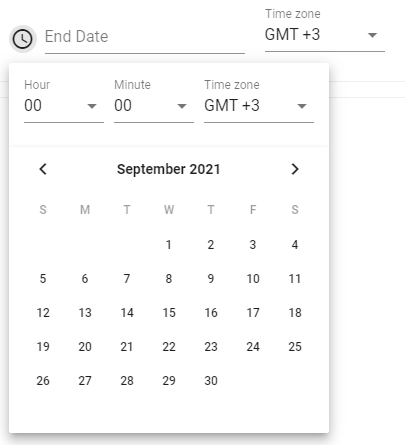 new interface for setting start & end times