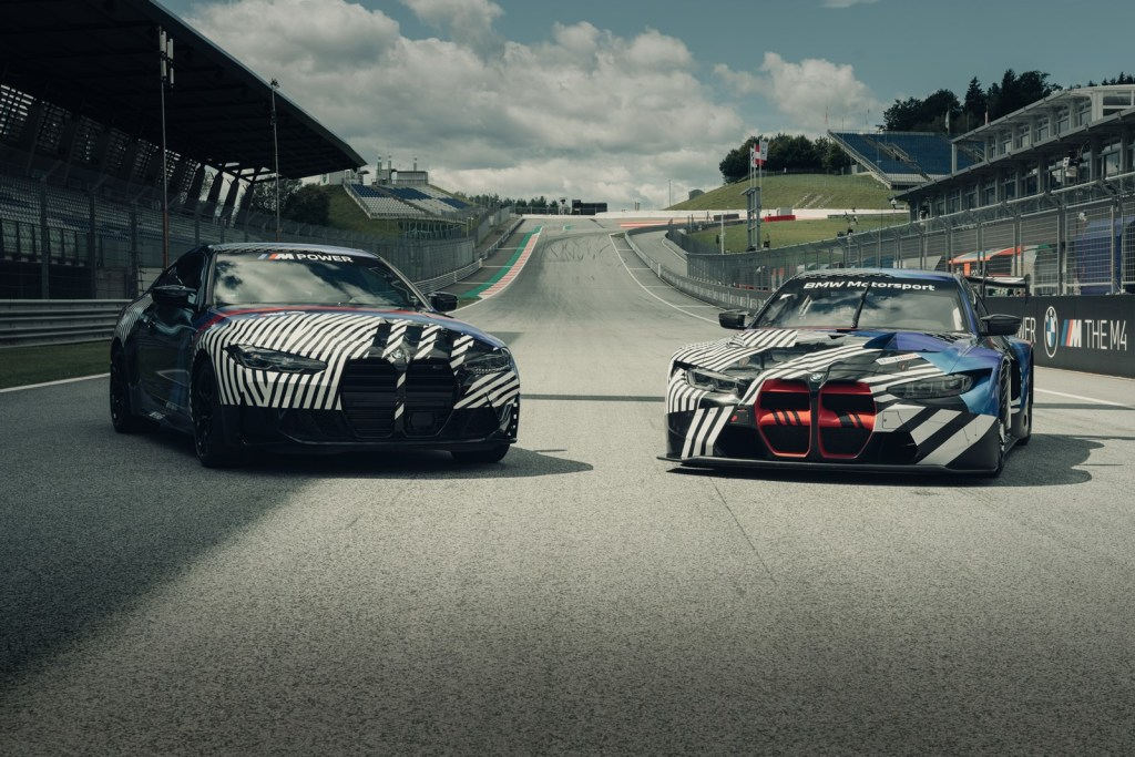 The new BMW M4 with up to 510 hp is seen alongside the future BMW M4 GT3 before its debut