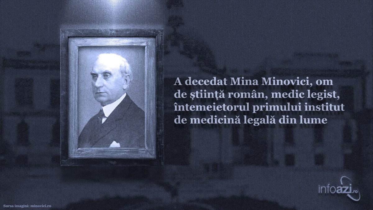 A decedat Mina Minovici, om de stiinta roman, medic legist, intemeietorul primului institut de medicina legala din lume