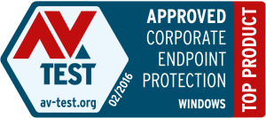 Selo da Av Test para o Kaspersky Enpoint Security Business