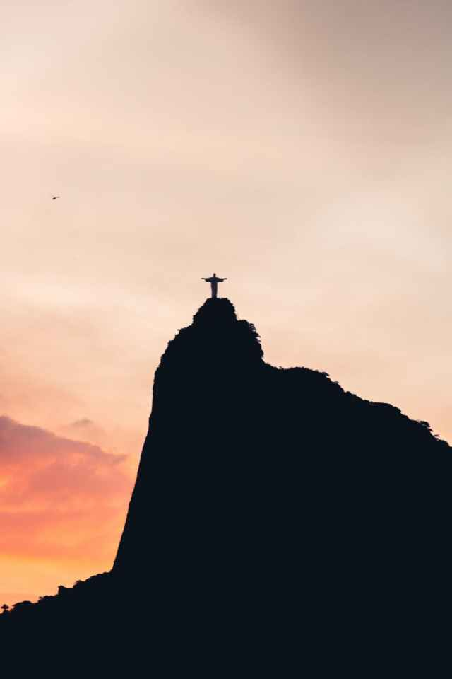 black and white silhouette of christ the redeemer Brasil