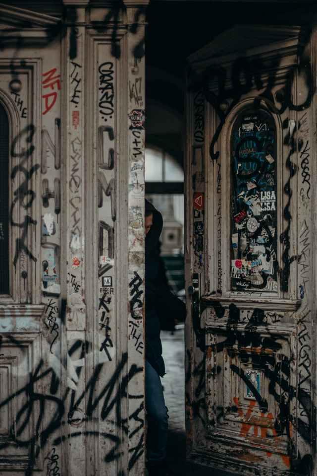 white and black floral wooden door Berlin