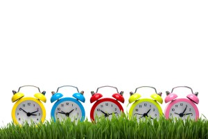 five alarm-clocks on a grass lawn