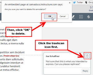 An example of how to delete a Strikeout Annotation with a comment.
