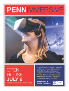 Image: A smiling woman wearing a Oculus Rift headset. Text: PennImmersive Open House July 6th 11 am to 1 pm Van Pelt-Dietrich Library. Join us between 11 am and 1 pm to see and try out a variety of technologies including Google Cardboard, Zappar mobile augmented reality, Oculus Rift, our new 3D scanner, SightDeck, livestream VR video, and more! Popsicles provided.