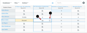 An example of the crosshairs- and highlighting-features in the New Gradebook.