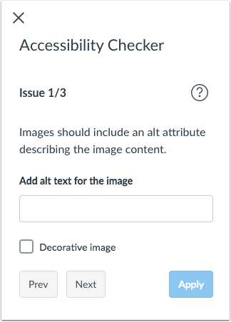 example of the accessibility checker issue window