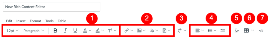 Location of shortcut icons for adding, editing, and formatting content in the toolbar within the New Rich Content Editor.