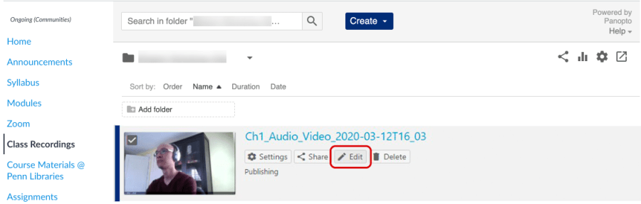 Screenshot of Class Recordings tab in Canvas with a video selected and the 'Edit' option below the video title is highlighted.