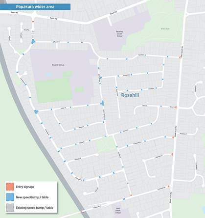 Map of proposed locations for speed calming measures in Rosehill, Papakura